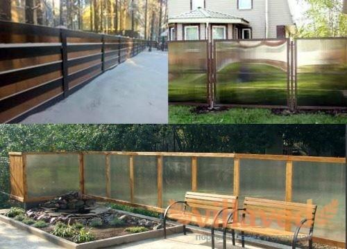 Забор из поликарбоната и дерева