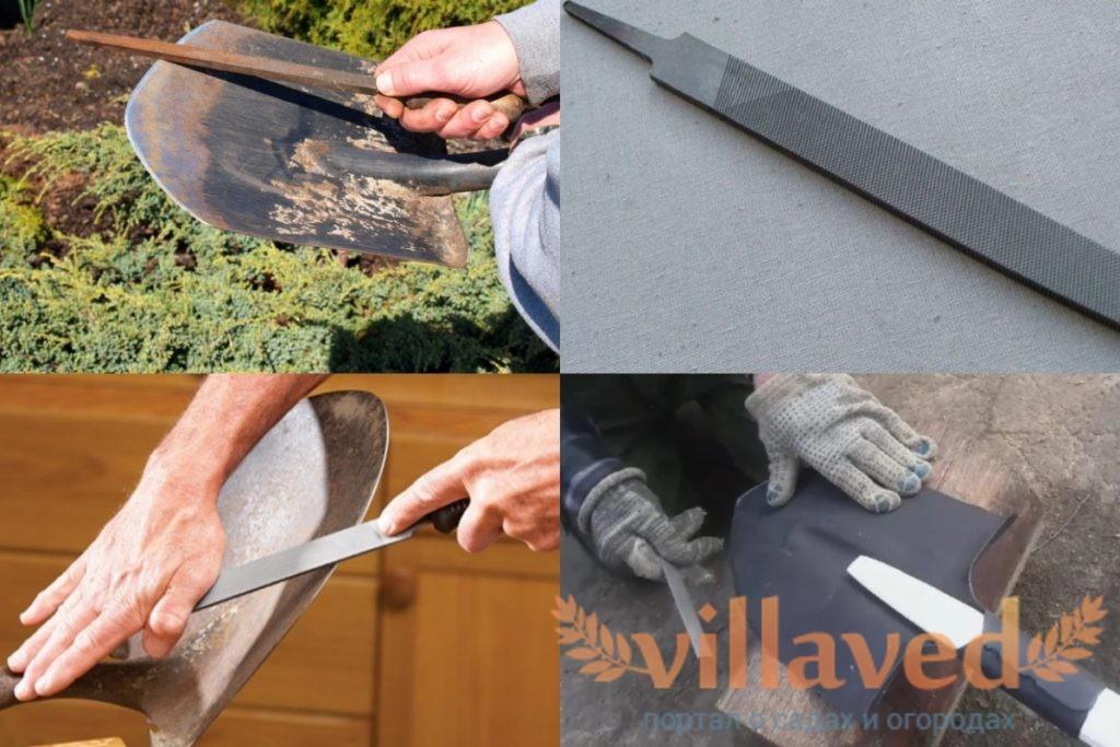Как точить лопату напильником