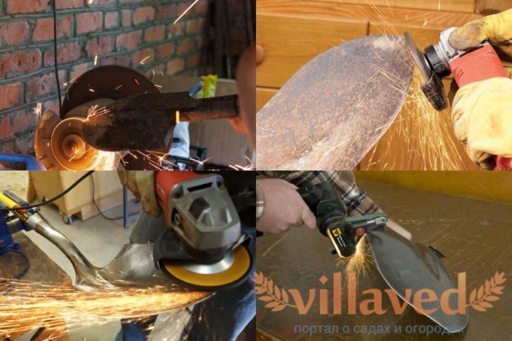 Как точить лопату болгаркой